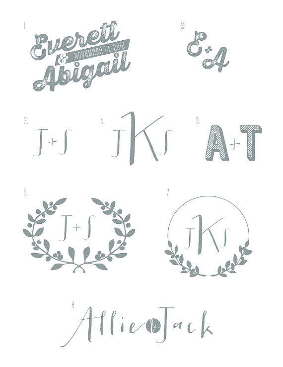 Custom Wedding Logos Monograms Ii By Pushpapers On Etsy 15 00