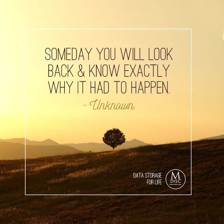 Memories Coming Back Quotes: Someday You Will Look Back And Know Exactly Why It Had To