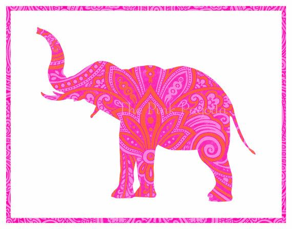 Pretty Elephants-Tangerine Orange and Hot Pink Indian Paisley Elephant Silhouette Giclee 11x14. $35.00, via Etsy.