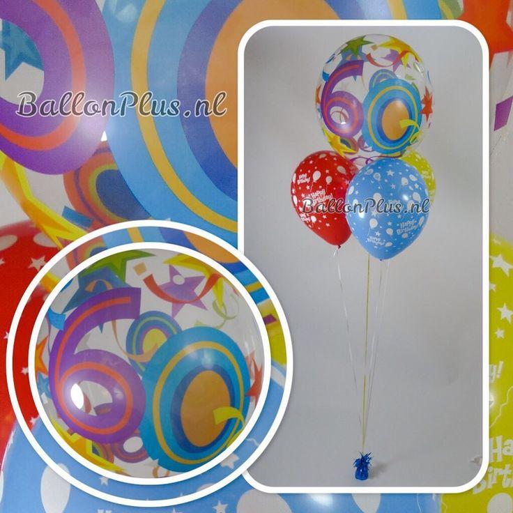 Ballon Boeket - 60 - Hartelijk Gefeliciteerd - van BallonPlus.nl