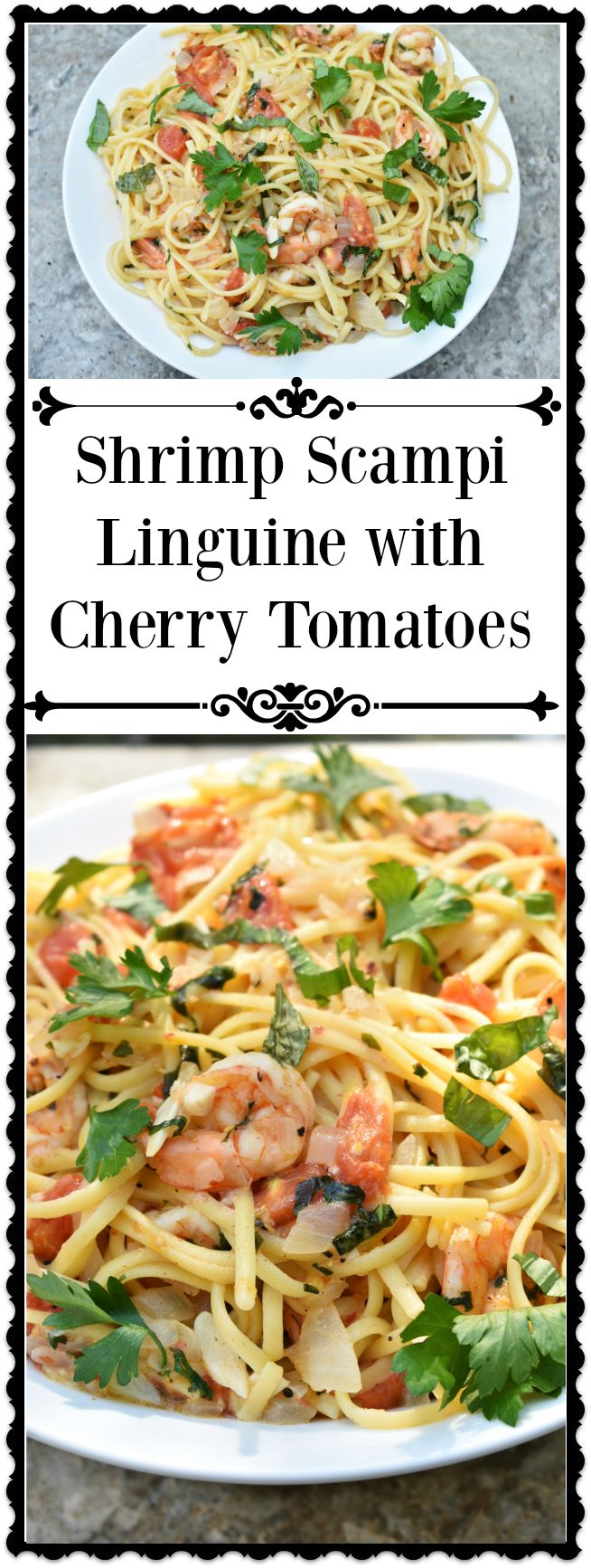 Shrimp Scampi Linguine with Cherry Tomatoes is an easy, delicious recipe for any occasion. The roasted cherry tomatoes add an extra pop of flavor to the classic lemon and garlic sauce. The sweet, briny shrimp and is the perfect counterbalance for the garlicky, acidic sauce. This is a quick, easy recipe that will quickly become a mainstay on your dinner table.