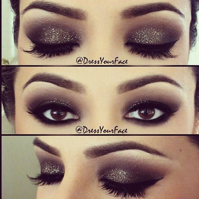 A gorgeous glitter smokey eye created by @dressyourface on her client. Absolutely stunning Tamanna.  ✨Product listing below. ✨Eyes: featuring shadows from my Lavish Palette ✨Brows: ABH Brow Pro Pallette ✨Brow bone highlight: Cream (from Lavish Palette) ✨Crease: Rum Cake and Truffle  Lid: Black Diamond ✨Lower lid: ABH Covet Waterproof Liner in Noir ✨Top liner and Waterline: @Inglot_USA AMC matte gel liner in 77 ✨Lashes: @HauteLashes Amplified style no. 11 ✨Mascara: @LancomeUSA Hypnose Drama…