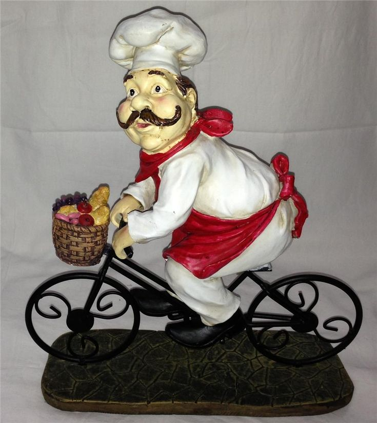 Fat Chef French Italian Bistro Statue Jumbo Big Large Figurine Kitchen Decor