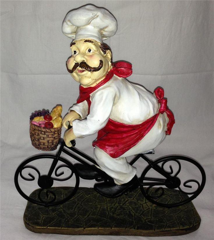 Chef Guy Kitchen Decoration: Fat Chef French Italian Bistro Statue Jumbo Big Large