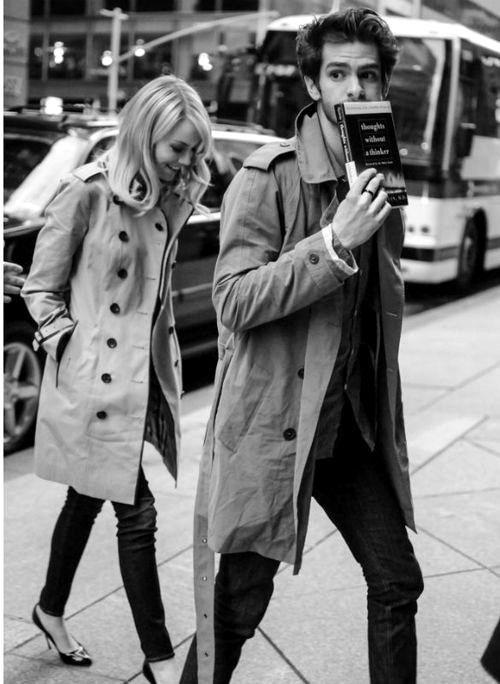Emma Stone wears Burberry's Leather Trim Trench