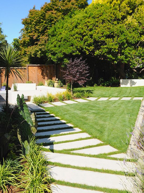 Cement and concrete walkway ideas modern landscape front for Unique front yard landscaping ideas