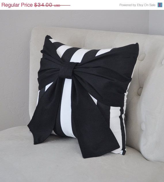 MOTHERS DAY SALE Throw Pillow Black Bow on Black and White Stripe Pillow 14x14 -Black and White Stripe Pillow-