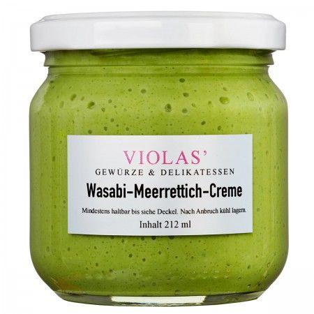 VIOLAS' Wasabi-Meerrettich-Creme   212ml unserer leckeren Wasabi-Meerrettich-Creme ist für alle, die die Schärfe von Wasabi und Meerretich lieben. Zutaten: Meerrettich gerieben, Rapsöl, SAHNE 25%, Branntweinessig, Zucker, MOLKENerzeugnis, Wasser, Jodsalz, Wasabipulver 0,5%, Karamellzuckersirup, Säuerungsmittel: Zitronensäure, Verdickungsmittel: Guarkernmehl & Xanthan, Aroma, Gewürze, Farbstoffe: E104, E141, Antioxidationsmittel: Natriummetabisulfit & Zitronensäure. Glutenfrei.
