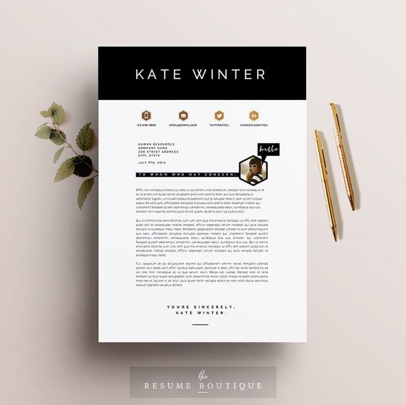 Resume Template 3pk CV Template Cover by TheResumeBoutique