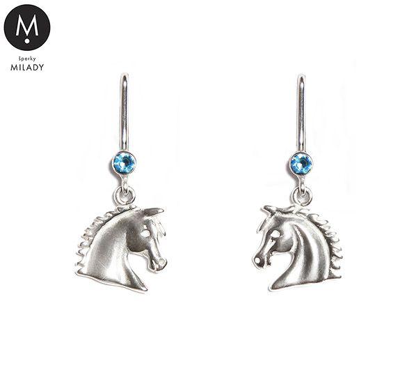 VŠECHNY ŠPERKY | Náušnice koně Vivian a přírodní kámen akvamarín - světle modré | MILADY šperky, jezdecké a koně