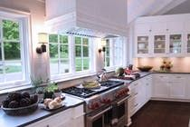 Classic white kitchen drenched in light  Architectural Detail  Dining  Kitchen  Living  American  Eclectic  Farmhouse by Wade Weissmann Architecture Inc