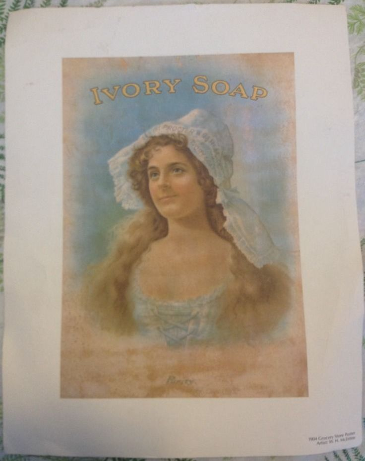 1904 Vintage Grocery Store Ad Poster Ivory Soap W H