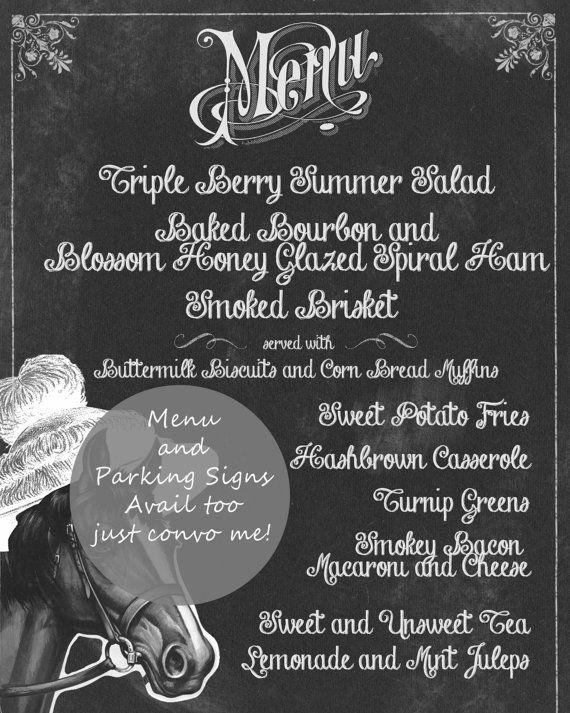 Kentucky Derby Party Invitations Chalkboard by CreationsbyDeven #kentuckyderby #derby #party #chalkboard #menu #invitation