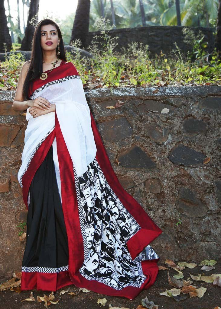 January Collection - Combination Of Black And White Chanderi With Buddha Print On Pallu And Red Border