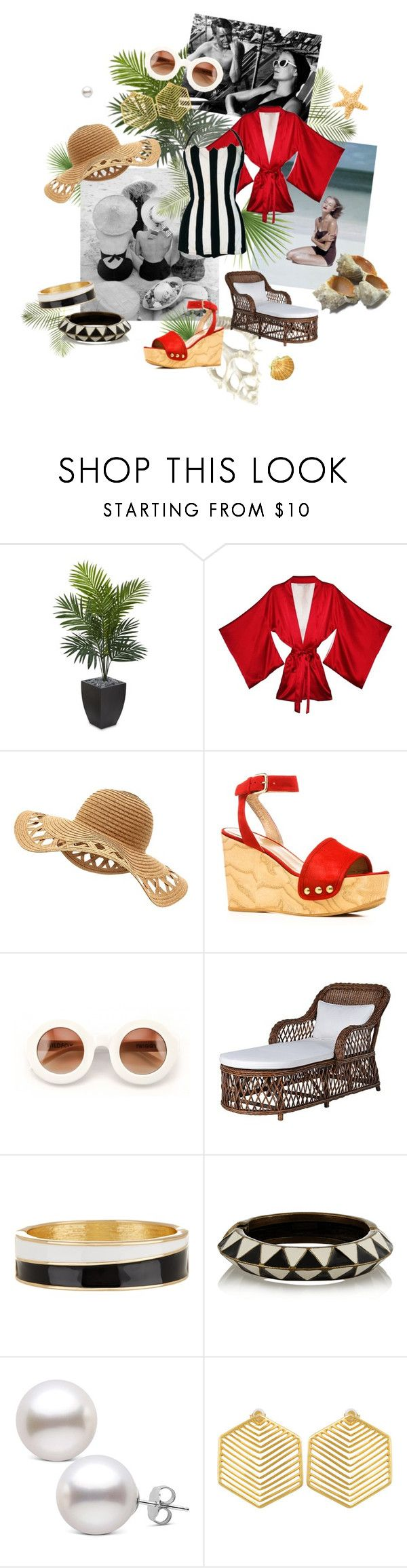 """Glamour by the Sea"" by blind-carbon-copy ❤ liked on Polyvore featuring Nearly Natural, Fleur du Mal, Stuart Weitzman, Wildfox, Retrò, Spring Street, Isabel Marant and Kasturjewels"