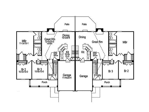shadydale multi family duplex duplex house plansranch - Family House Plans