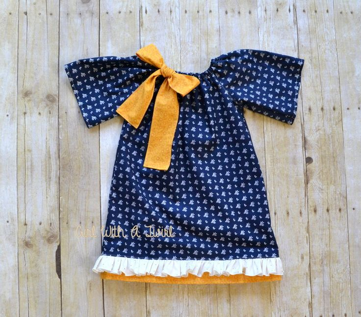 Girls Long Sleeve Dress, Navy and Mustard Yellow Dress, Peasant Dress, Boutique Clothes,Winter Dress, Girls Spring Dress, Toddler Gift by GirlWithATwirl on Etsy https://www.etsy.com/listing/251356129/girls-long-sleeve-dress-navy-and-mustard