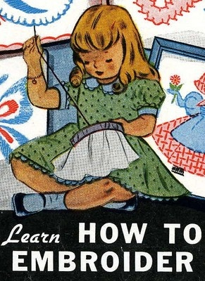Vogart 101 an Adorable 1940s Embroidery pattern it teaches you to embroidery has 12 stitches to learn and 12 designs to work on.