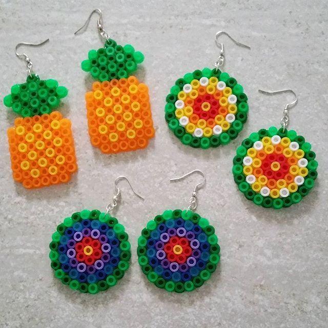 Earrings hama mini beads by  kvetchman