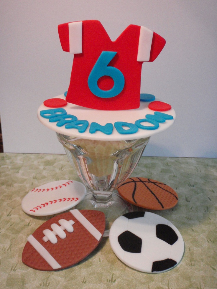 All Star Sports Personalized Edible Fondant Cake Decorating Set- Jersey, Baseball, Football, Soccer Ball, Basketball. $18.00, via Etsy.