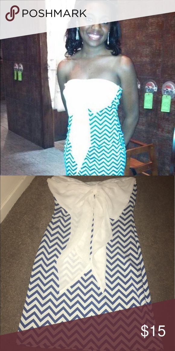 Chevron dress Blue chevron dress Dresses Strapless
