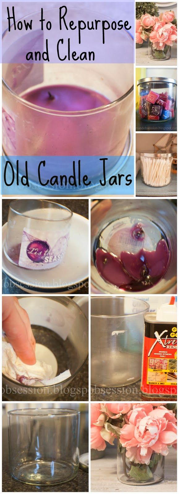 Re-purposed candle jars. Easy diy tutorial on the blog, tutorial voor het verwijderen van kaarsvet uit een glas,
