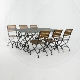 Belgisch hardstenen tafel met 6 stoelen