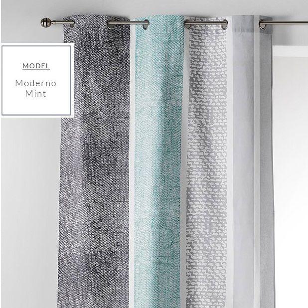 Miętowe skandynawskie stylowe zasłony na okna