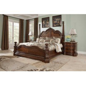 """With the traditional dark cherry stain finish flowing beautifully over the elaborately ornate details, the """"Ledelle"""" bedroom collection features rich Ash swirl and Birch veneers along with Asian hardwoods and natural marble parquetry tops on the case pieces to create a sophisticated Old World style."""