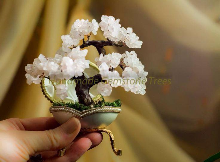Pink quartz mini bonsai
