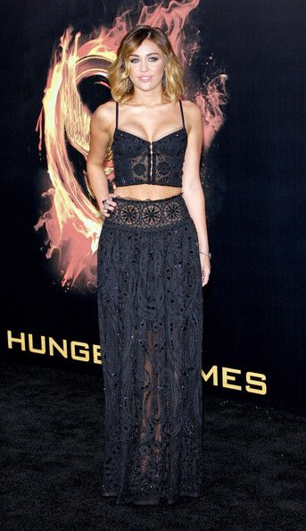 "Miley Cyrus in Emilio Pucci at the 2012 premiere of ""The Hunger Games"" in Los Angeles"