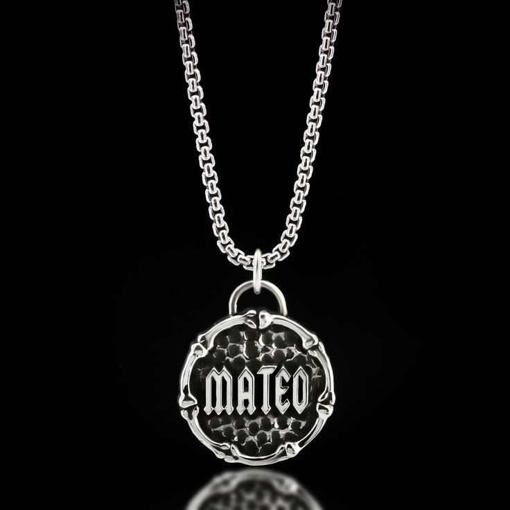 Custom Goth Name Necklace - Sterling Silver