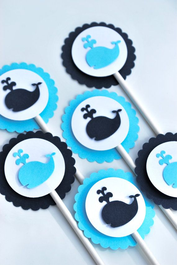 Whale Baby Shower Cupcake Toppers