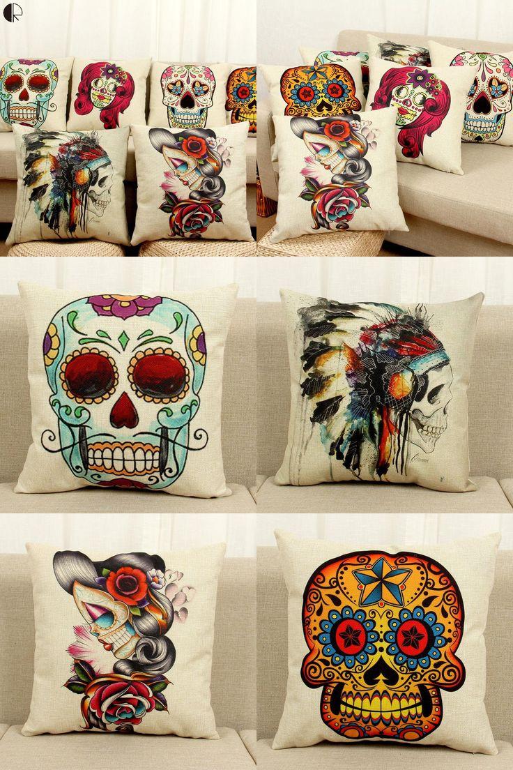 [Visit to Buy] Halloween Mexican Sugar Skull Cushion (No inner) Decorative Throw Pillow Sofa Home Decor Almofada Cojines Decorativos Coussin #Advertisement