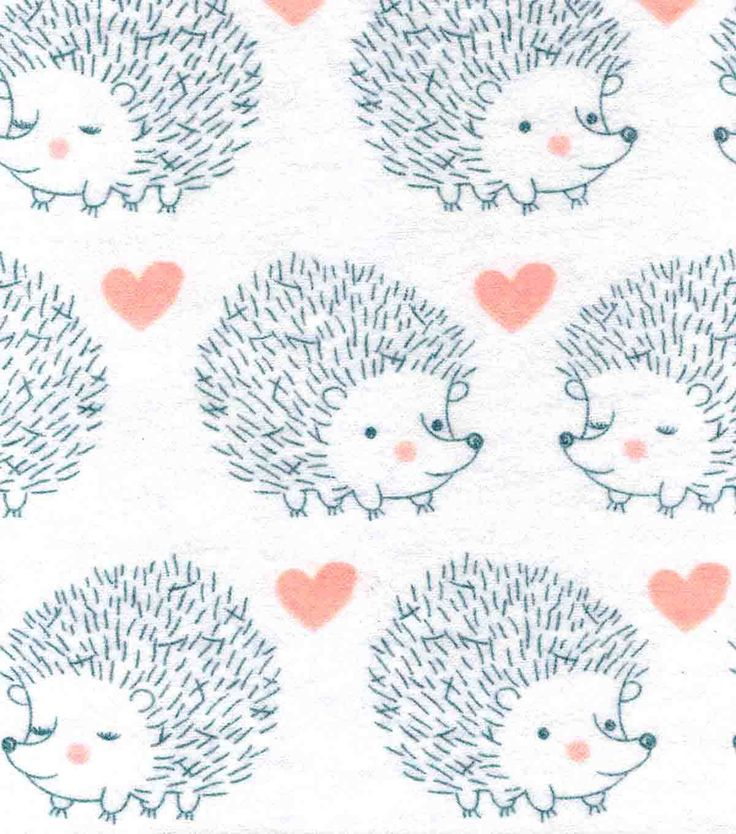 Snuggle Flannel Fabric-Hedgehog Love