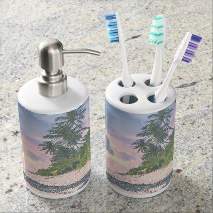 #Tropical beach design soap dispenser & toothbrush holder - #Bathroom #Accessories #home #living