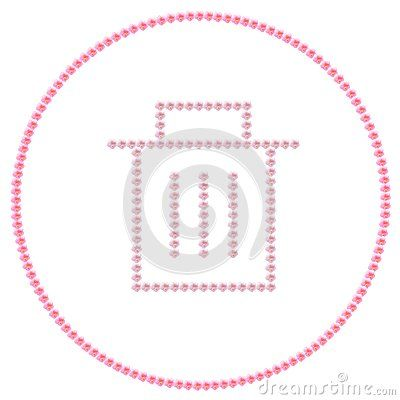 Recycle bin icon made with pink hibiscus flowers