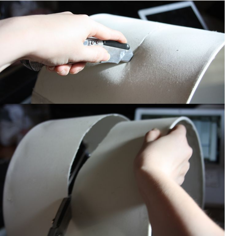cutting a lampshade for a ceiling fan makeover
