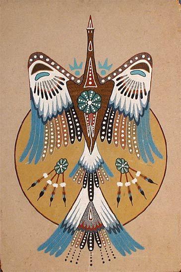 Peyote Bird by Woody Crumbo Potowatami Sandpainting on wood