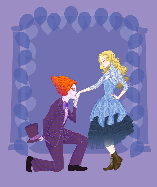 Mad Hatter and Alice - Alice In Wonderland   14 Disney Couples Go To Prom