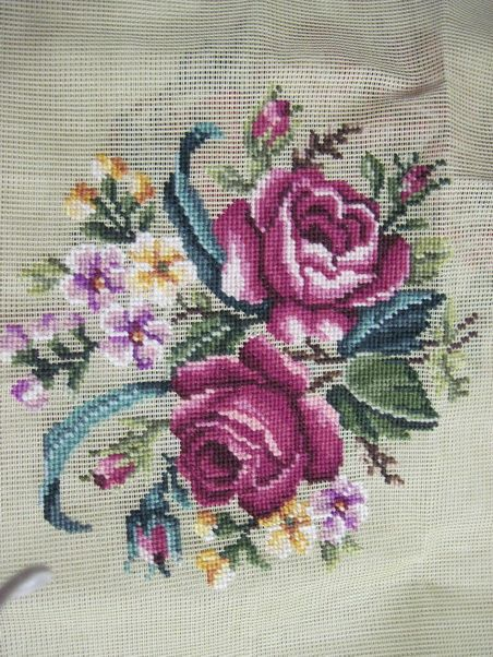 Pre Worked Floral Needlepoint Canvas 26 x 26 Inches