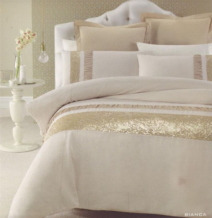 BIANCA Gold Beige Golden Sequins QUEEN/KING Quilt Doona Duvet Cover Set