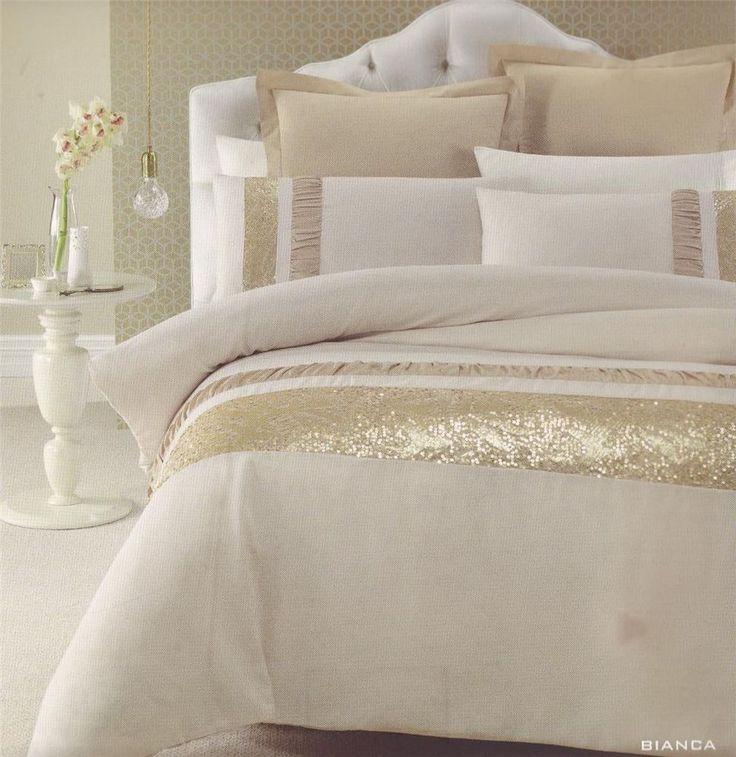 Bianca Gold Beige Golden Sequins Queen King Quilt Doona Duvet Cover Set