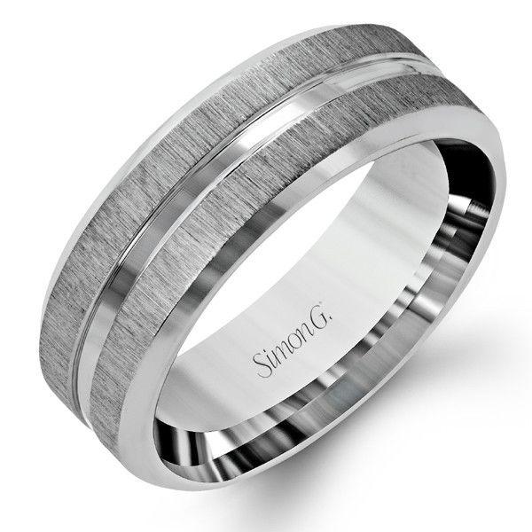 Simon G 14K White Gold Men's Satin Wedding Band With Polished Accent. Style LG152