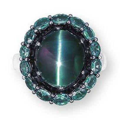 A Cat's Eye Alexandrite and Diamond Ring