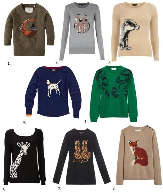 Weekend fashion: Animal sweaters. Just kidding, animal sweaters are an all week affair.