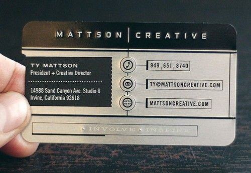 61 best business card images on pinterest groomsmen textures 20 modern metal business cards for inspiration reheart Images