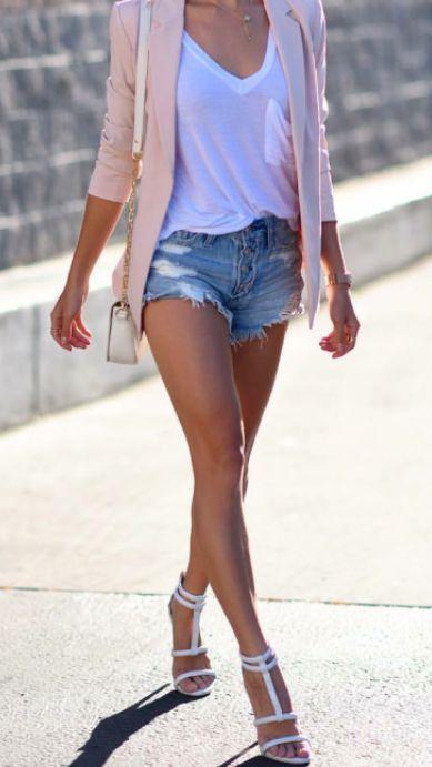 peach blazer + white pocket tee + ripped denim shorts