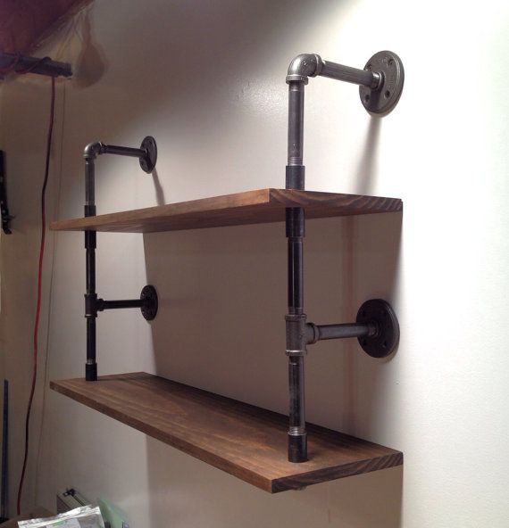 Wall mounted double pipe shelf by cushdesignstudio on Etsy