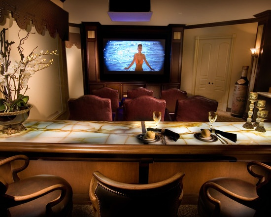mediterranean media room by causa design group - Home Theater Design Group